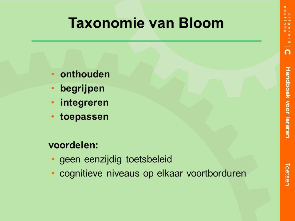 Taxonomie van Bloom onthouden begrijpen integreren toepassen