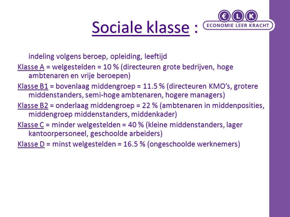 Sociale klasse :