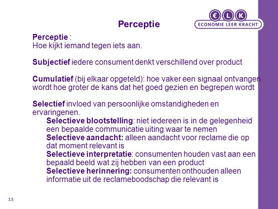 Perceptie Perceptie : Hoe kijkt iemand tegen iets aan.