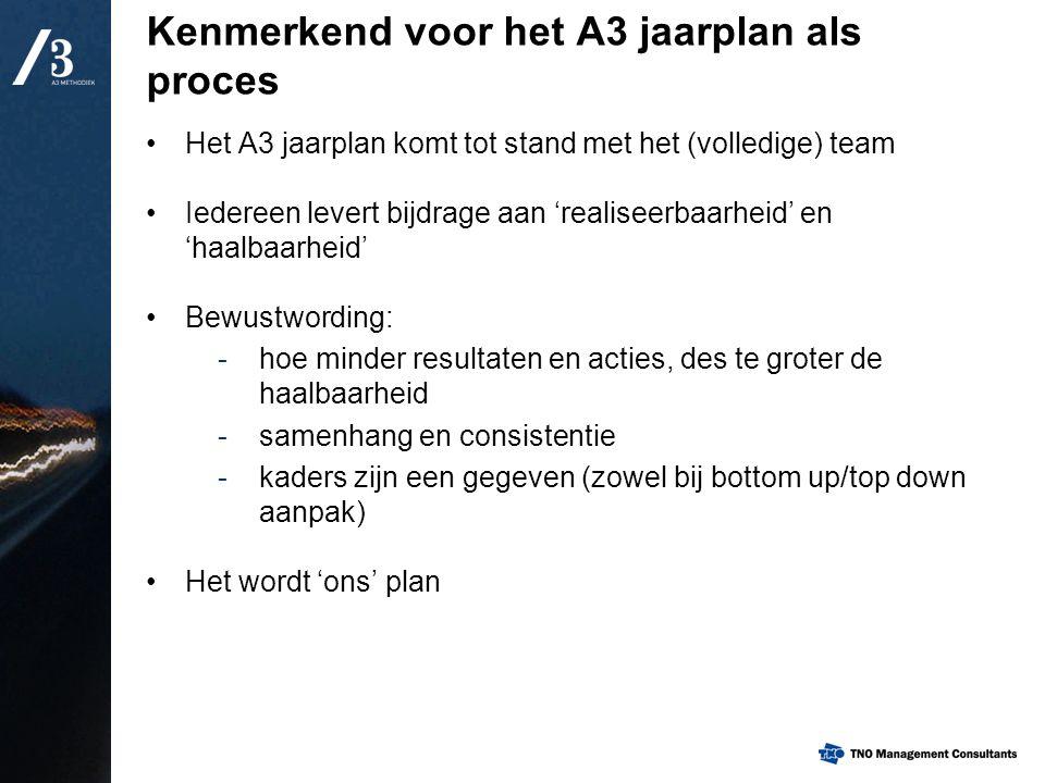 Kenmerkend voor het A3 jaarplan als proces