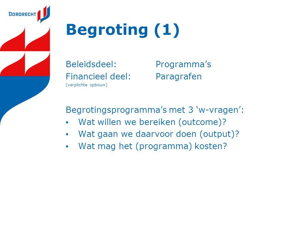 Begroting (1) Beleidsdeel: Programma's Financieel deel: Paragrafen
