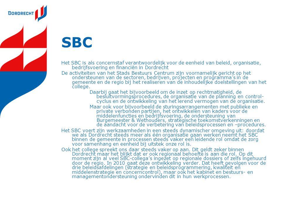 SBC Het SBC is als concernstaf verantwoordelijk voor de eenheid van beleid, organisatie, bedrijfsvoering en financiën in Dordrecht.