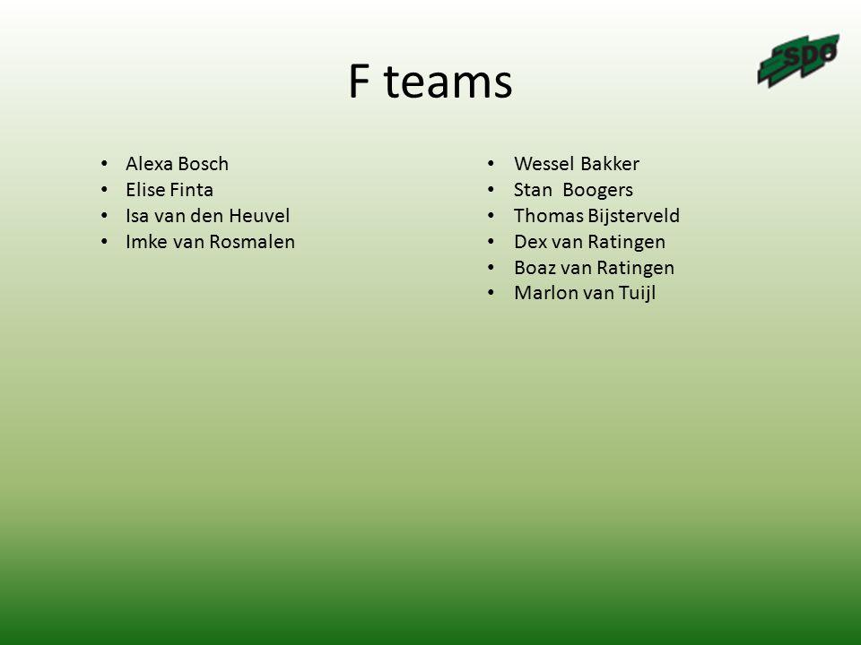 F teams Alexa Bosch Elise Finta Isa van den Heuvel Imke van Rosmalen