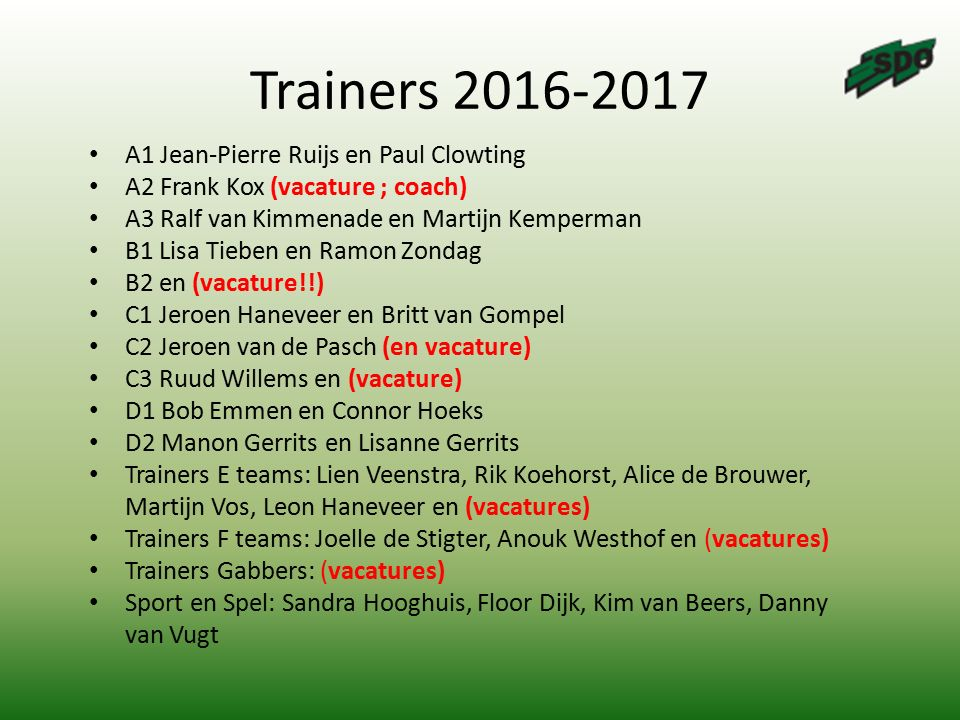 Trainers 2016-2017 A1 Jean-Pierre Ruijs en Paul Clowting