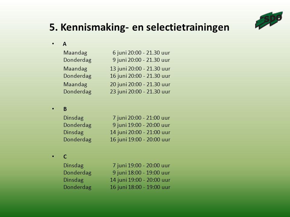 5. Kennismaking- en selectietrainingen