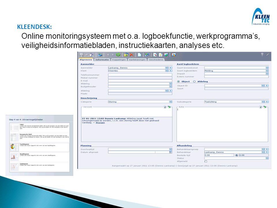 Online monitoringsysteem met o.a. logboekfunctie, werkprogramma's,