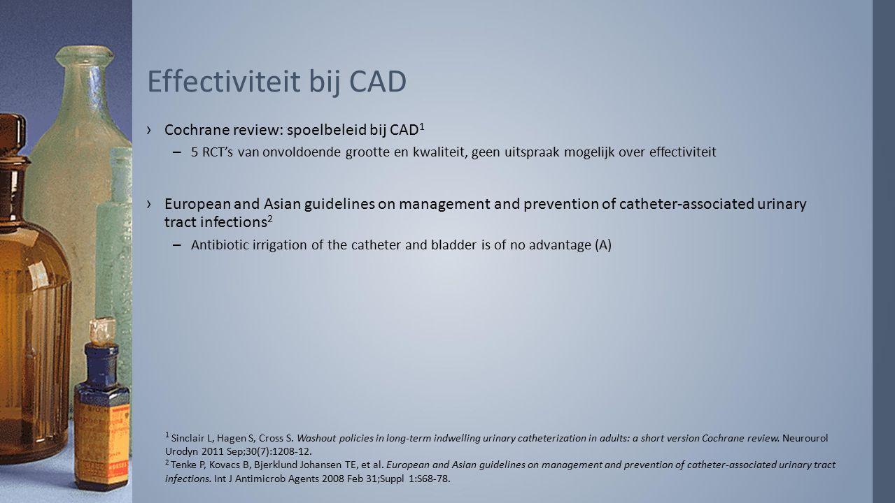 Effectiviteit bij CAD Cochrane review: spoelbeleid bij CAD1
