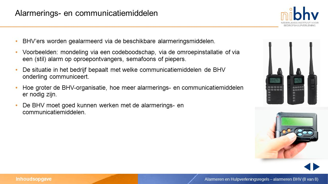 Alarmerings- en communicatiemiddelen