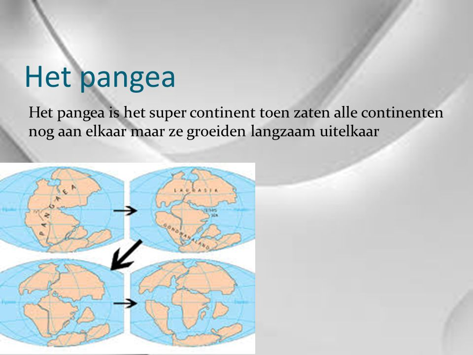 Het pangea Het pangea is het super continent toen zaten alle continenten nog aan elkaar maar ze groeiden langzaam uitelkaar.