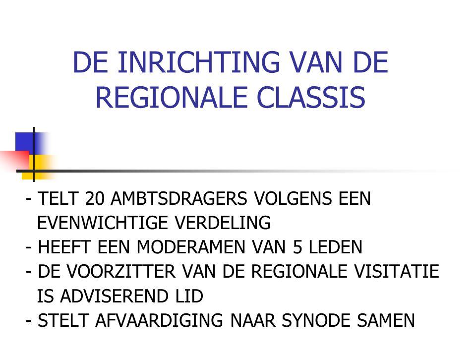 DE INRICHTING VAN DE REGIONALE CLASSIS