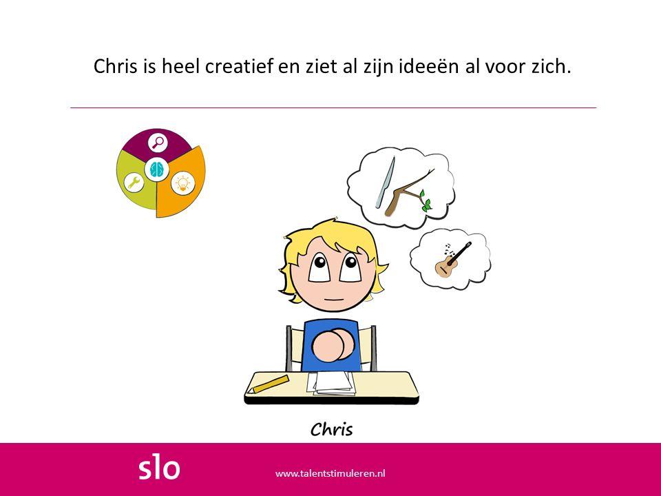 Chris is heel creatief en ziet al zijn ideeën al voor zich.