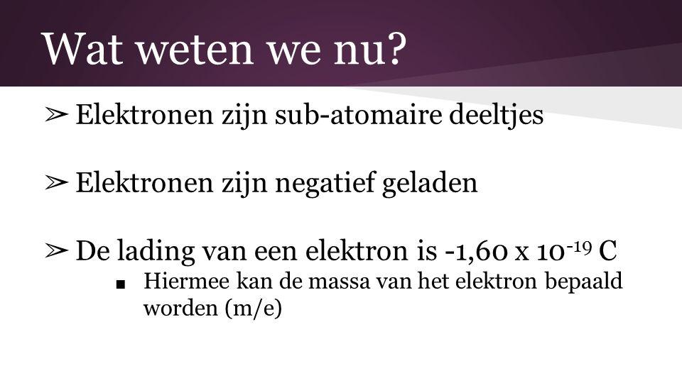 Wat weten we nu Elektronen zijn sub-atomaire deeltjes