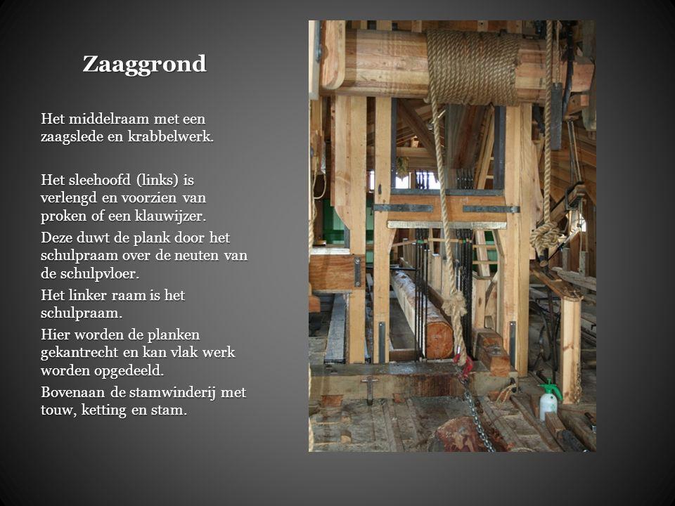 Zaaggrond Het middelraam met een zaagslede en krabbelwerk.