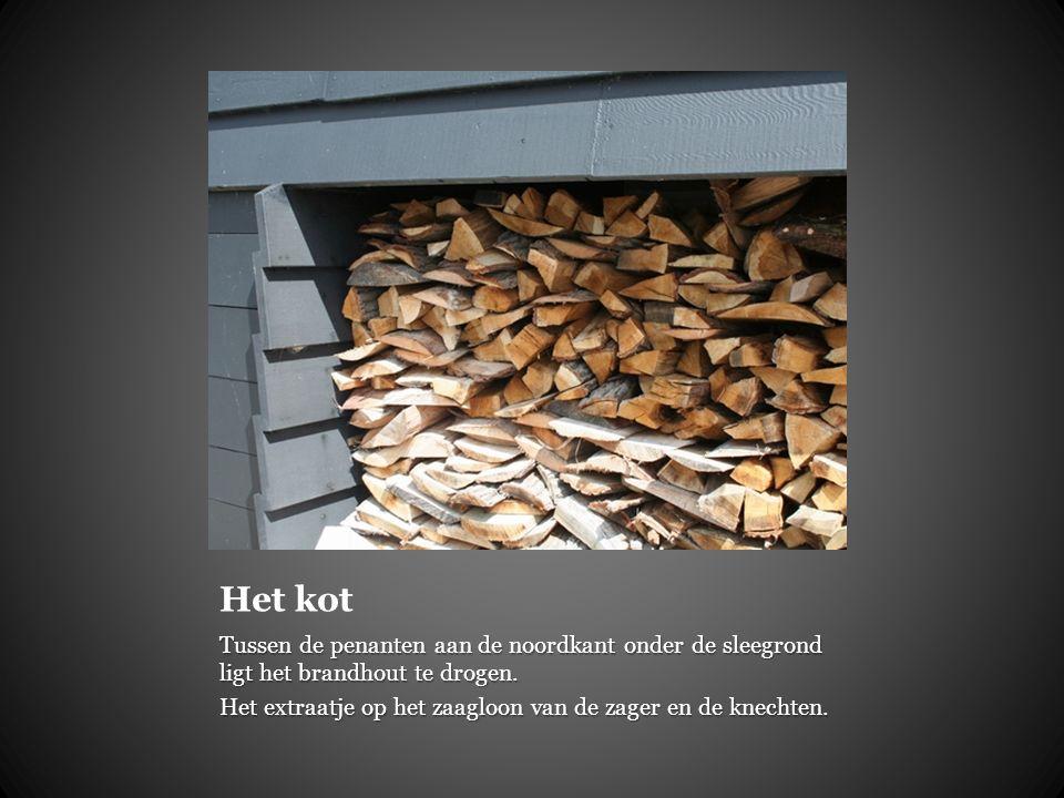 Het kot Tussen de penanten aan de noordkant onder de sleegrond ligt het brandhout te drogen.