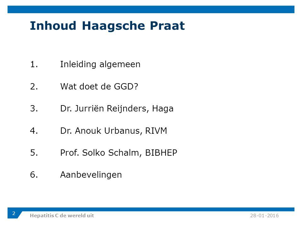 Inhoud Haagsche Praat 1. Inleiding algemeen 2. Wat doet de GGD