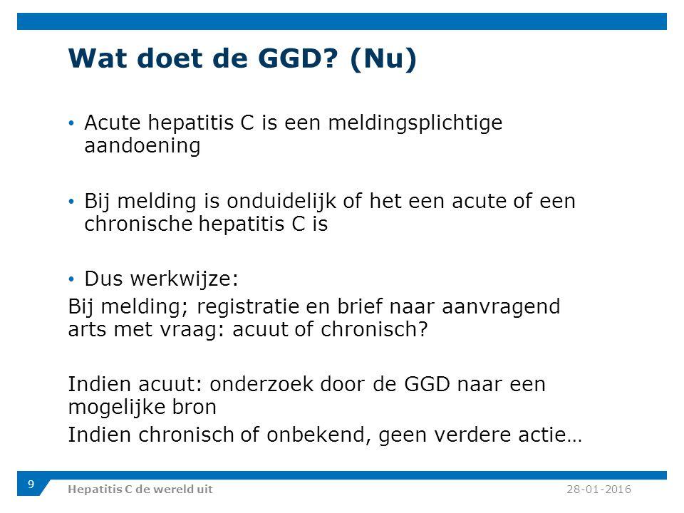 Wat doet de GGD (Nu) Acute hepatitis C is een meldingsplichtige aandoening.