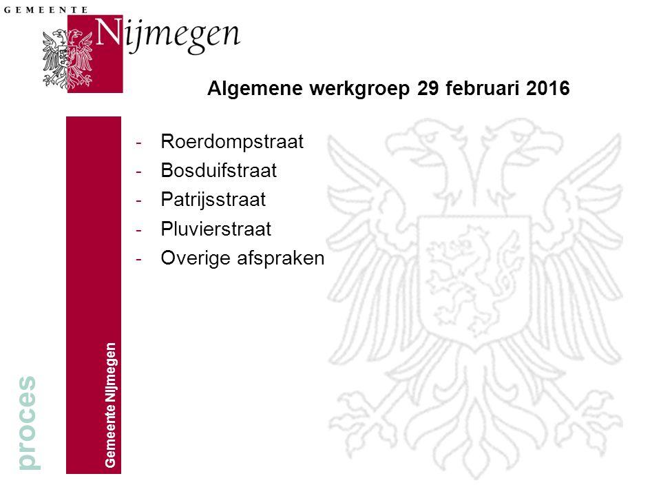 Algemene werkgroep 29 februari 2016