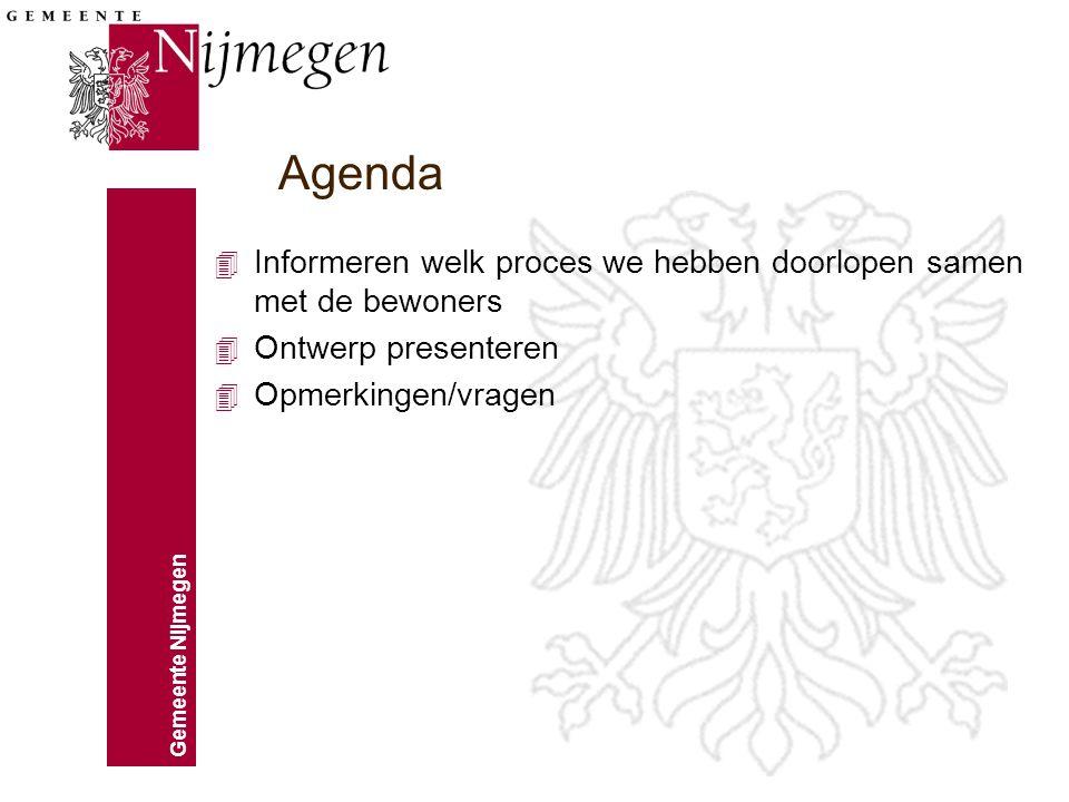 Agenda Informeren welk proces we hebben doorlopen samen met de bewoners.