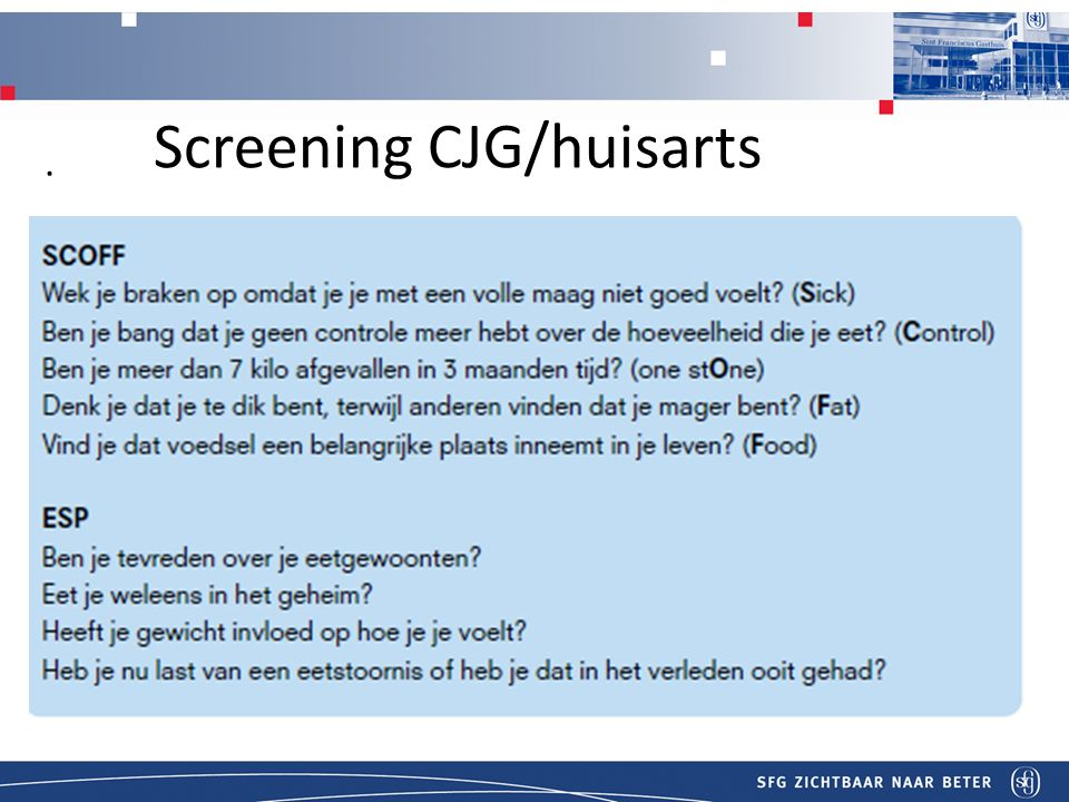 T Screening CJG/huisarts