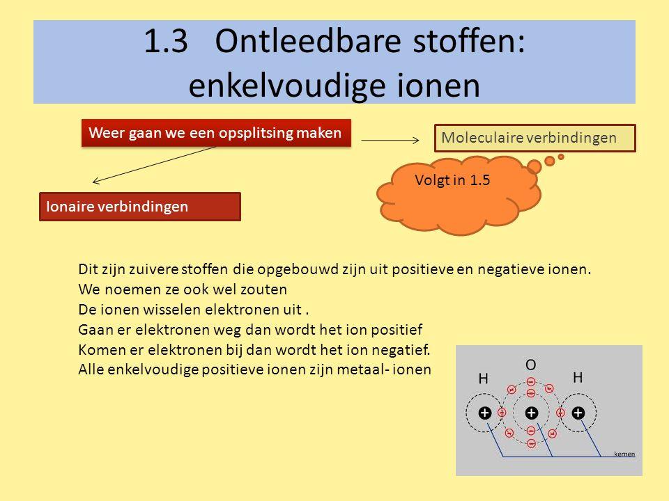 1.3 Ontleedbare stoffen: enkelvoudige ionen