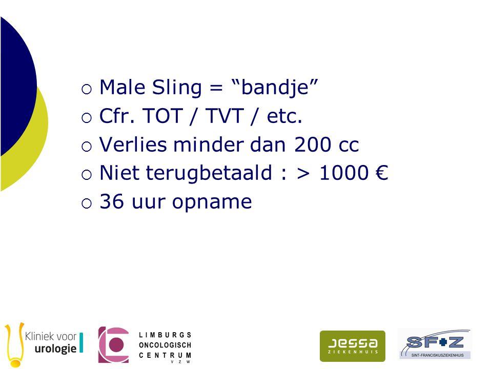 Male Sling = bandje Cfr. TOT / TVT / etc. Verlies minder dan 200 cc. Niet terugbetaald : > 1000 €