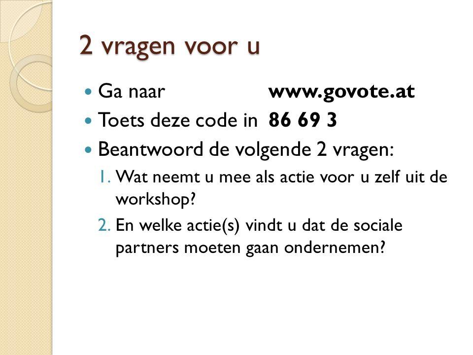 2 vragen voor u Ga naar www.govote.at Toets deze code in 86 69 3