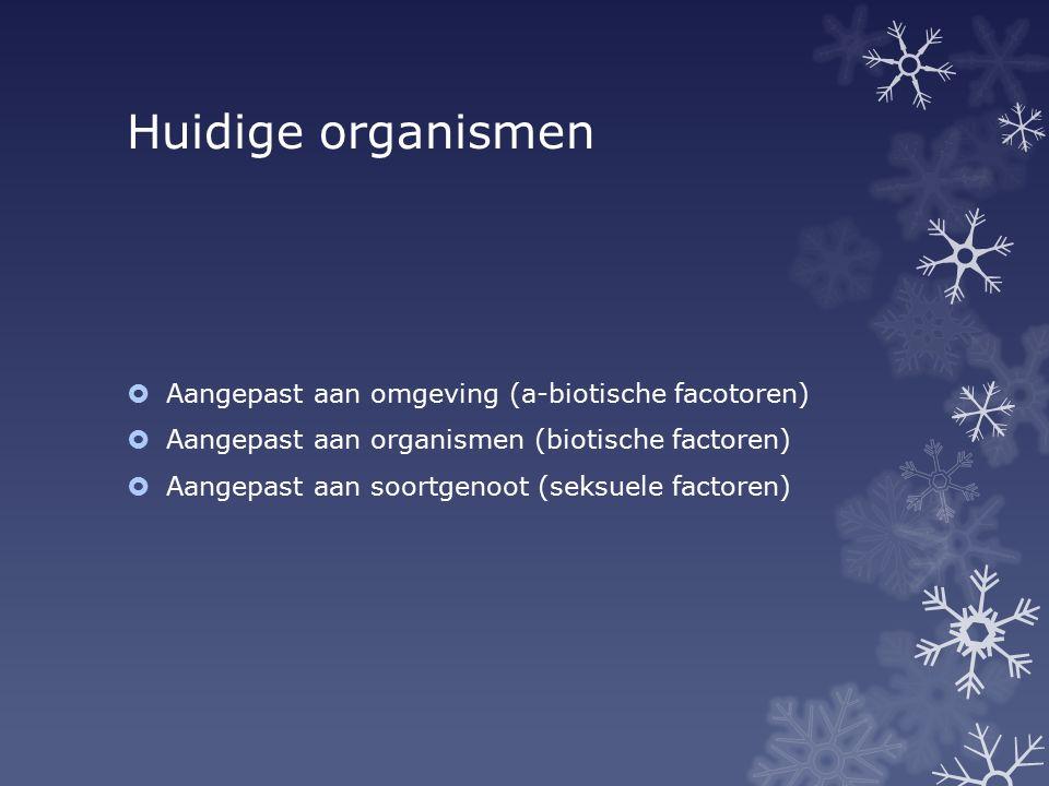 Huidige organismen Aangepast aan omgeving (a-biotische facotoren)
