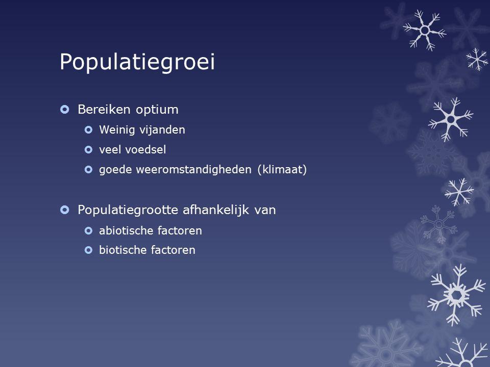 Populatiegroei Bereiken optium Populatiegrootte afhankelijk van