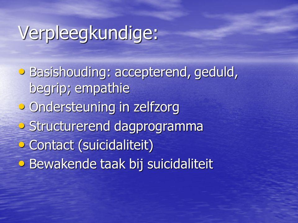 Verpleegkundige: Basishouding: accepterend, geduld, begrip; empathie