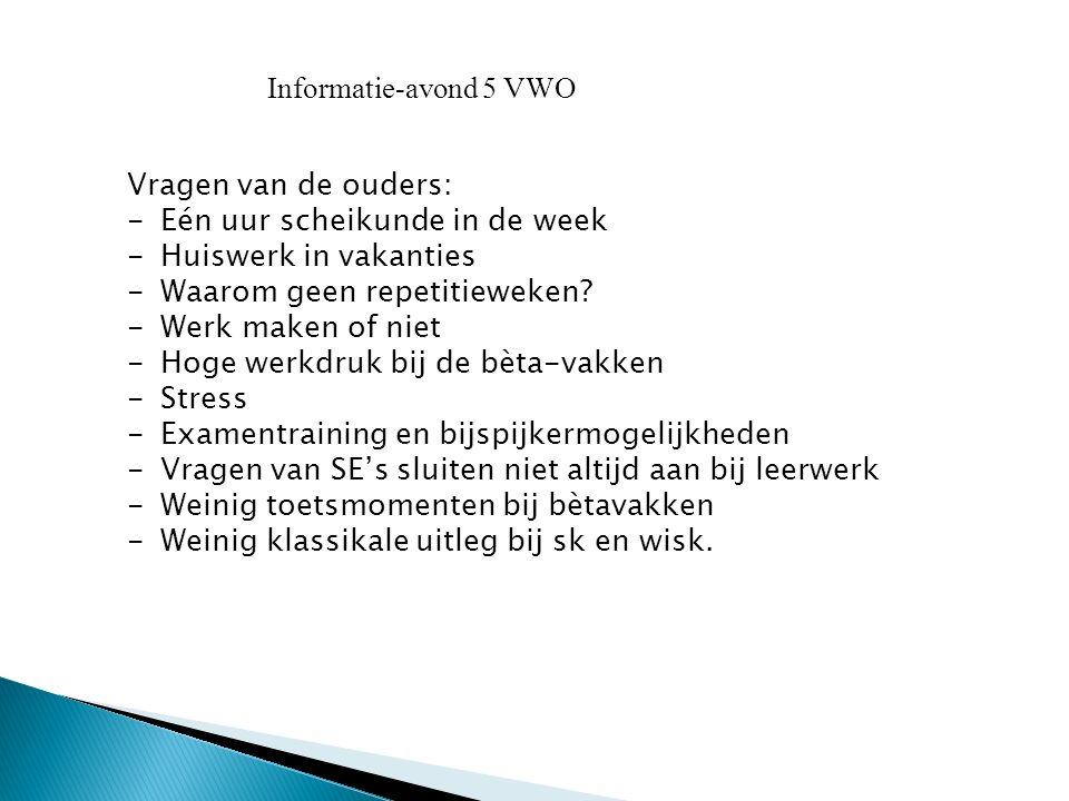 Informatie-avond 5 VWO Vragen van de ouders: Eén uur scheikunde in de week. Huiswerk in vakanties.