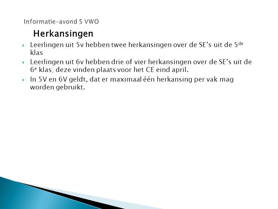 Informatie-avond 5 VWO Herkansingen. Leerlingen uit 5v hebben twee herkansingen over de SE's uit de 5de klas.