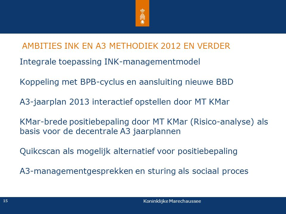 AMBITIES INK EN A3 METHODIEK 2012 EN VERDER