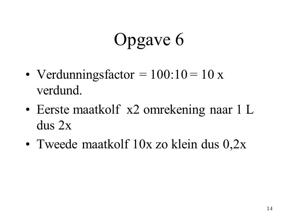 Opgave 6 Verdunningsfactor = 100:10 = 10 x verdund.