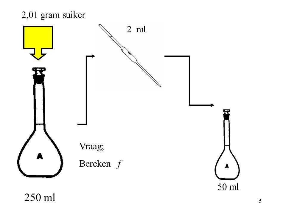 2,01 gram suiker 2 ml Vraag; Bereken f 50 ml 250 ml