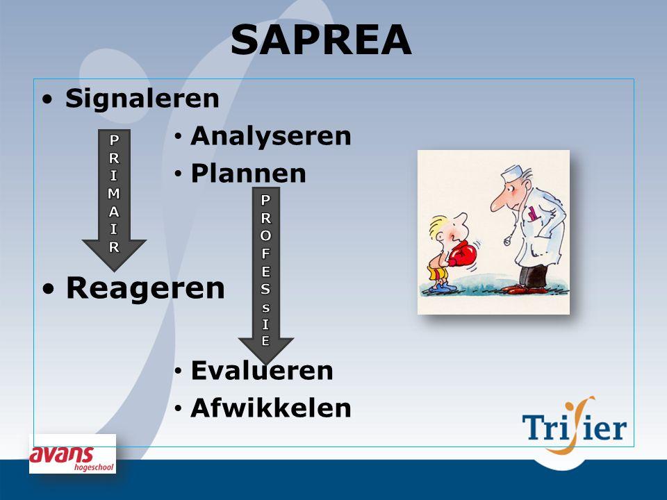SAPREA Reageren Signaleren Analyseren Plannen Evalueren Afwikkelen