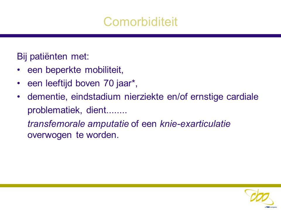 Comorbiditeit Bij patiënten met: een beperkte mobiliteit,