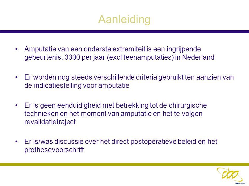 Aanleiding Amputatie van een onderste extremiteit is een ingrijpende gebeurtenis, 3300 per jaar (excl teenamputaties) in Nederland.