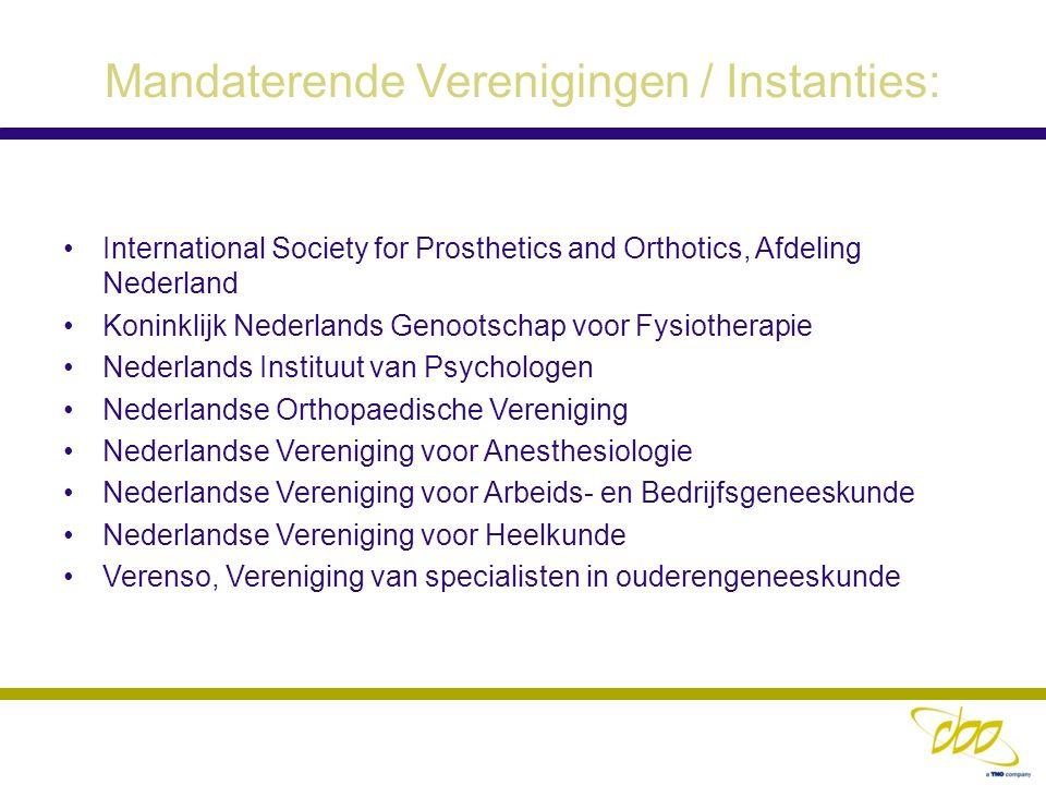 Mandaterende Verenigingen / Instanties:
