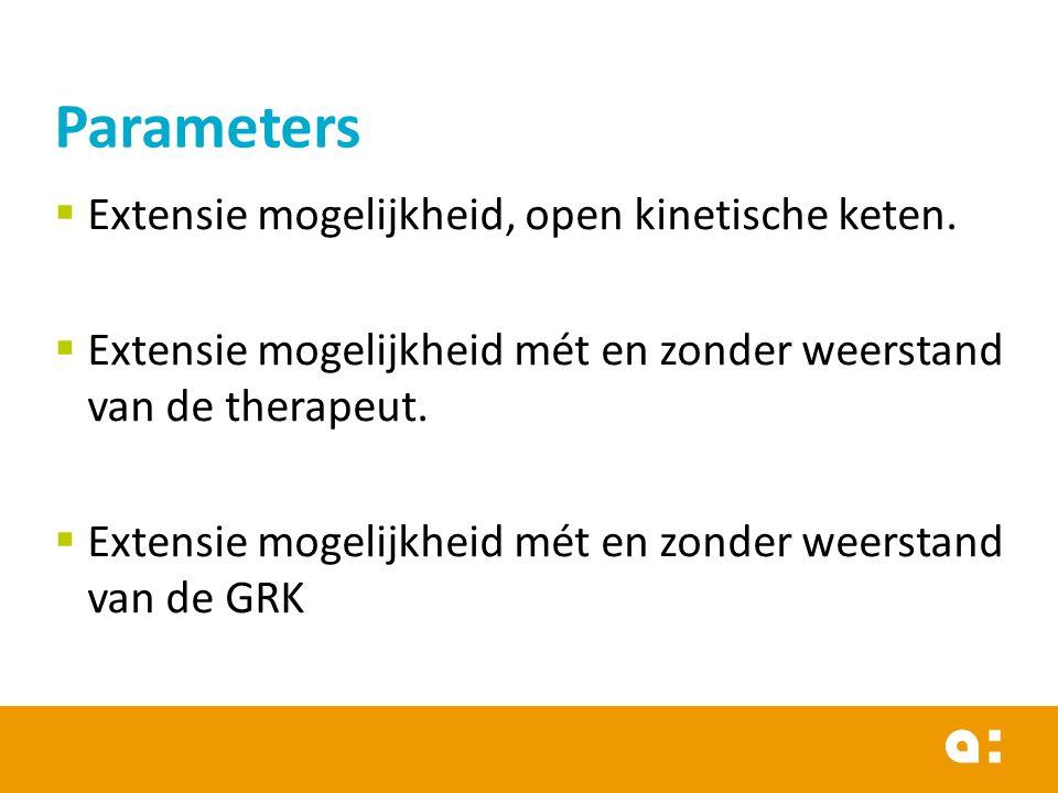 Parameters Extensie mogelijkheid, open kinetische keten.