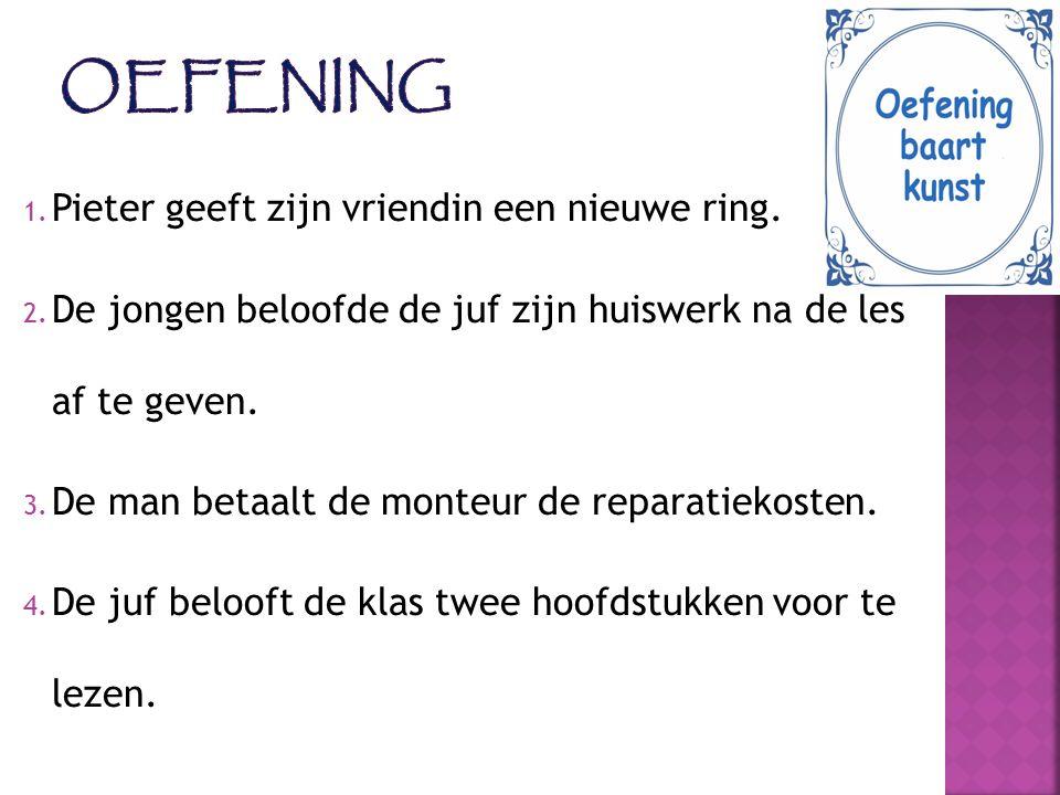 Oefening Pieter geeft zijn vriendin een nieuwe ring.
