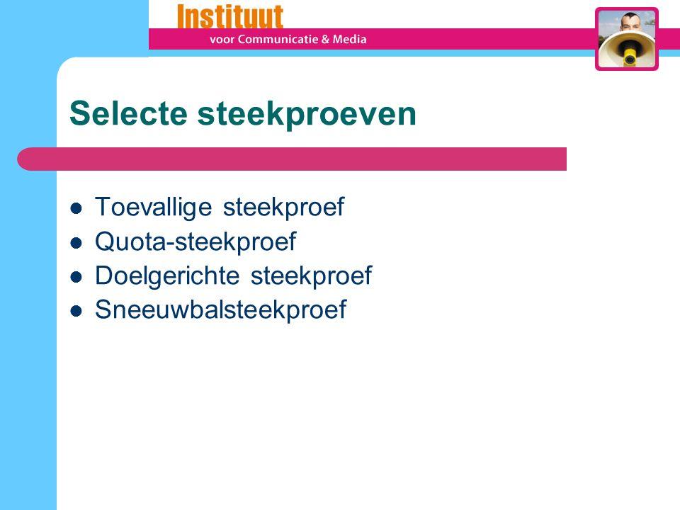 Selecte steekproeven Toevallige steekproef Quota-steekproef