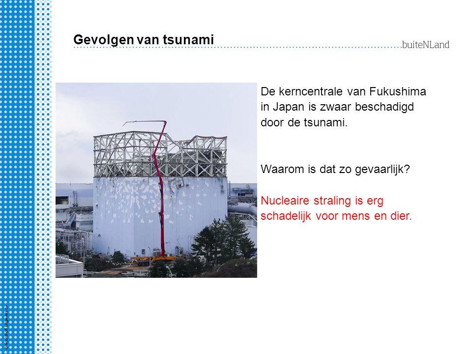 Gevolgen van tsunami De kerncentrale van Fukushima in Japan is zwaar beschadigd door de tsunami. Waarom is dat zo gevaarlijk