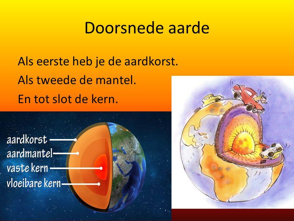 Doorsnede aarde Als eerste heb je de aardkorst. Als tweede de mantel. En tot slot de kern.