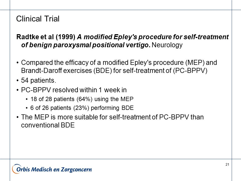 Clinical Trial Radtke et al (1999) A modified Epley s procedure for self-treatment of benign paroxysmal positional vertigo. Neurology.
