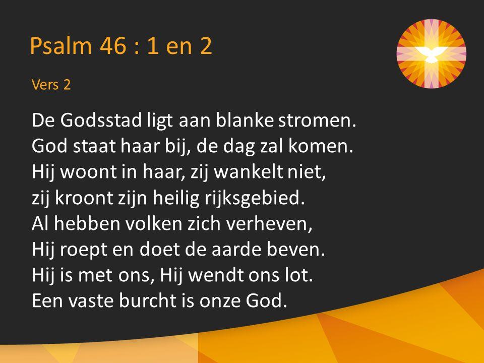 Psalm 46 : 1 en 2 De Godsstad ligt aan blanke stromen.