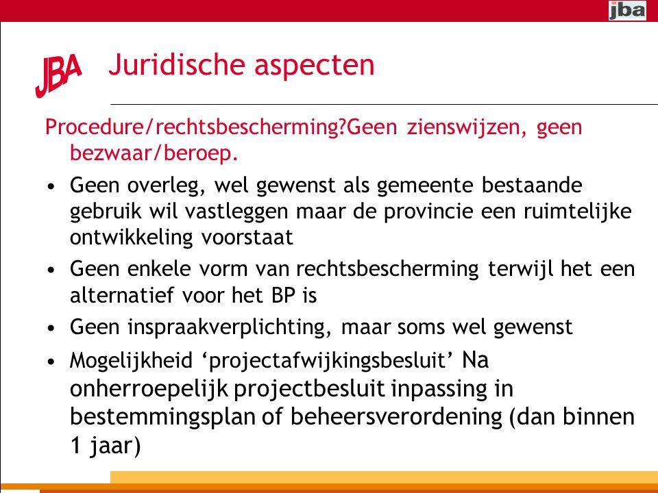 Juridische aspecten Procedure/rechtsbescherming Geen zienswijzen, geen bezwaar/beroep.