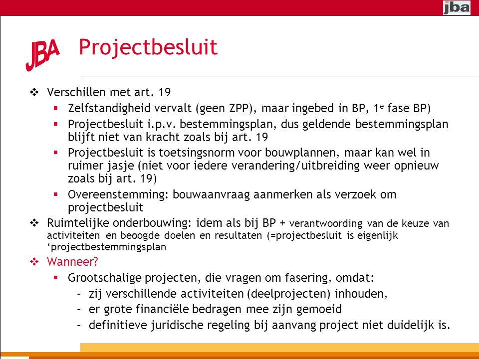 Projectbesluit Verschillen met art. 19