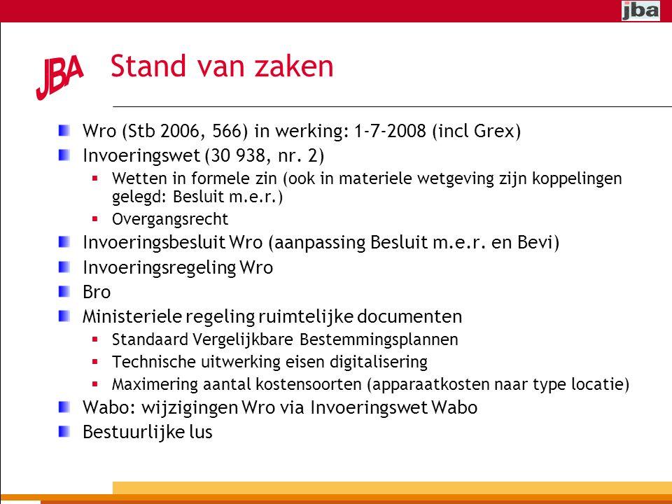 Stand van zaken Wro (Stb 2006, 566) in werking: 1-7-2008 (incl Grex)