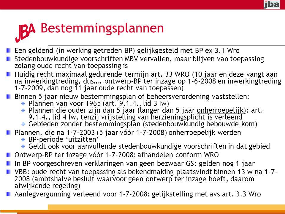 Bestemmingsplannen Een geldend (in werking getreden BP) gelijkgesteld met BP ex 3.1 Wro.