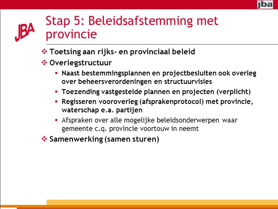 Stap 5: Beleidsafstemming met provincie